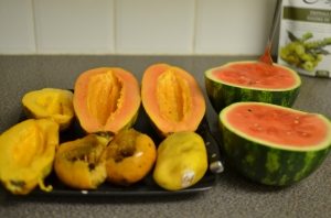 Watermelon and papaya make my digestion sing!
