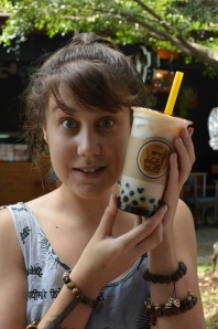 Baby Sister found bubble tea with soy milk and we almost lost her to the excitement.