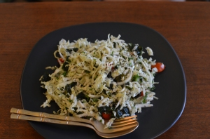 Seaweed salad are the raw resto called Giva