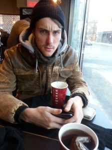 He got a hot chocolate. And was angry for some reason?